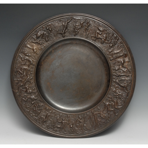 3412 - A Victorian bronze circular rosewater dish, cast in the Renaissance manner with signs of the Zodiac,...