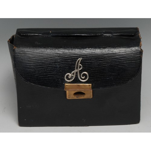 3496 - An early 20th century morocco leather travelling card box, by Webster's, 64 Dover Street [London], h...