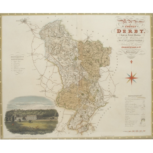 4046 - Christopher Greenwood (1786-1855) and John Greenwood (fl.1821-1840), Map of the County of Derby, fro...