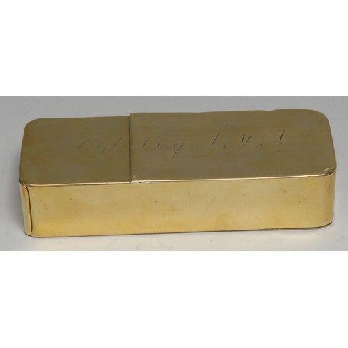 3471 - An early 19th century brass rounded rectangular smoker's companion, the box's three-quarter hinged c...