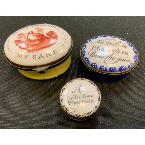 3195 - A George III South Staffordshire enamel oval patch box, the hinged cover painted with a nesting bird...