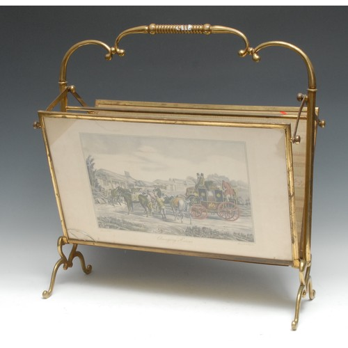 3558 - An unusual French polished brass articulated drawing room periodical rack, the folio stands folding ...