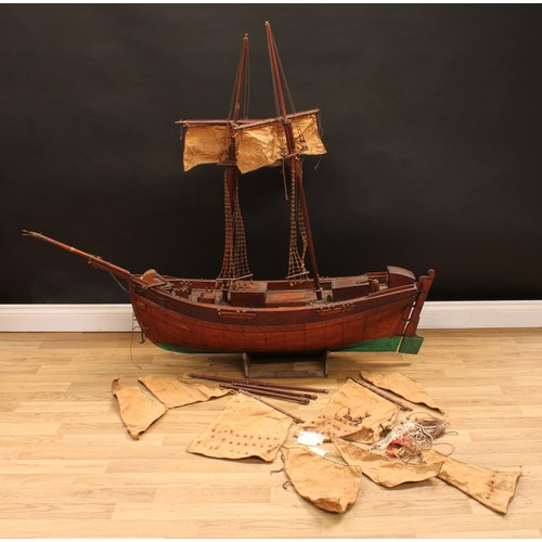3370 - A scratch built model galleon, for restoration, 130cm high (on stand), 150cm long, 33cm wide