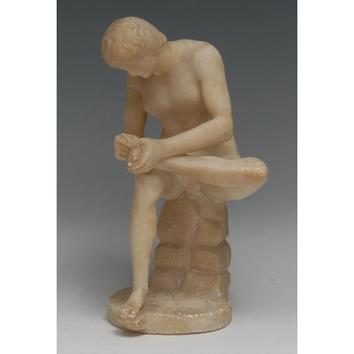 3626 - Grand Tour School (19th century), an alabaster library sculpture, Spinario, or Boy with Thorn, 25cm ...
