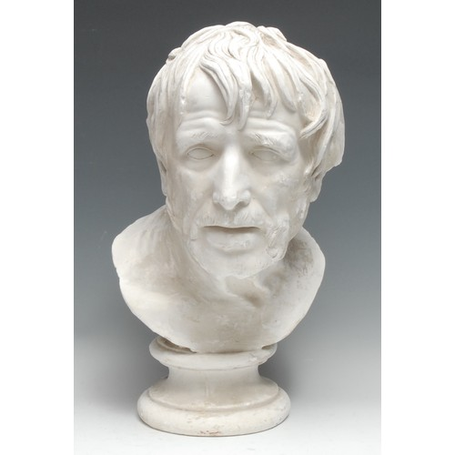 3357 - A plaster library bust, The Pseudo-Seneca, after the antique original discovered at the Villa of the...