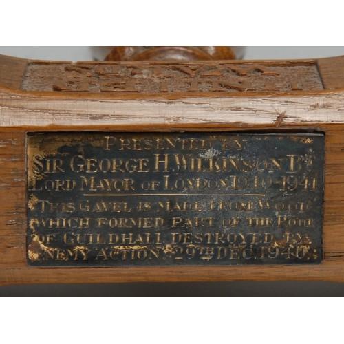 3616 - Friendly Society History - City of London - an oak gavel,  carved inscription United Wards Club, the...