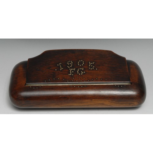 3731 - Treen - an unusual oversize elm rounded rectangular snuff box, possibly a tobacconist's shop display...