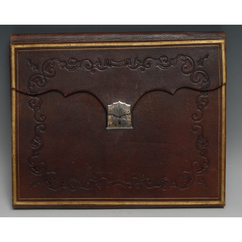3425 - A Victorian tooled and gilt morocco dispatch case, folding cover restrained by a clasp, the steel lo...