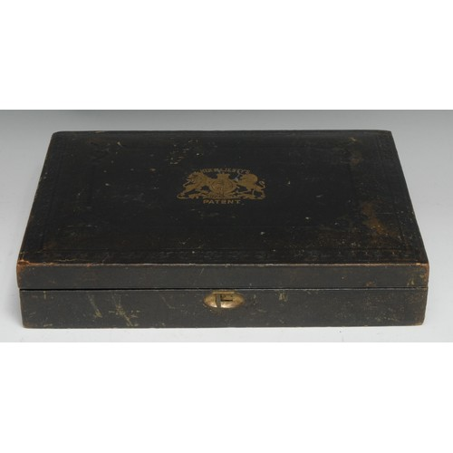 3418 - A Victorian gilt and tooled morocco rectangular Patent box, hinged cover, 29cm wide