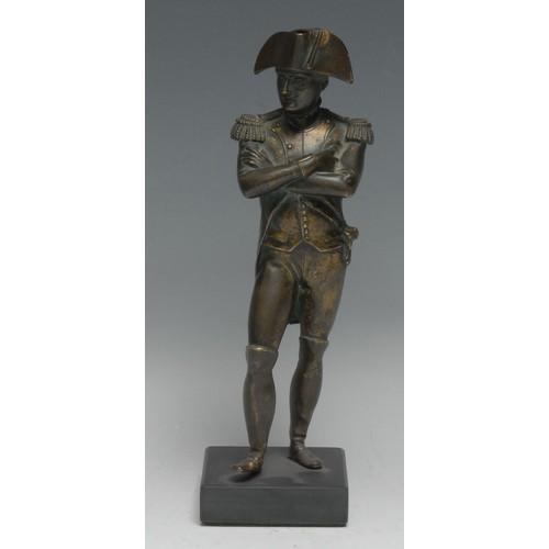 3609 - French School (19th century), a bronze, Napoleon Bonaparte, black marble base, 22.5cm high