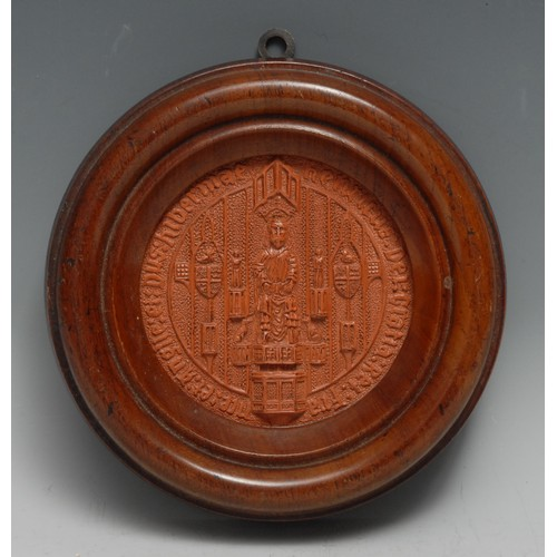 3281 - A museum-type antiquarian's composition intaglio impression, after a Medieval seal, 10cm diam, turne...
