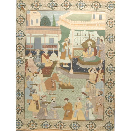 3347 - A Persian rectangular room panel, painted in gouache with a courtly scene within a border of floral ...