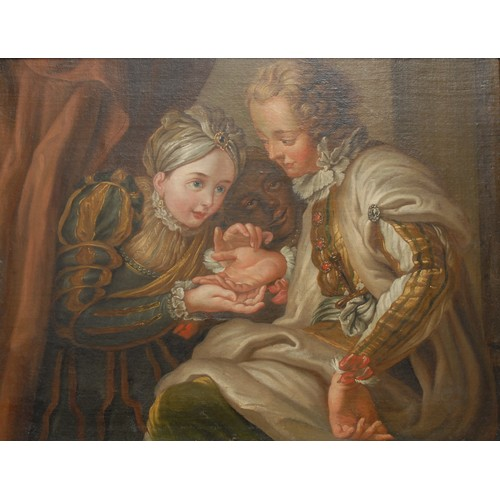 3442 - After Charles-Antoine Coypel The Fortune Teller  oil on canvas, 48.5cm x 63cm