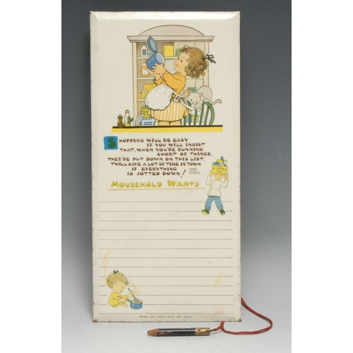 3640 - Mabel Lucie Atwell - a mid-20th century wall hanging kitchen shopping list tablet, Valette Washable ...