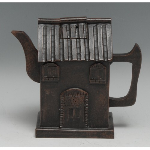 3163 - A Chinese Yixing novelty teapot and cover, as a house, 12.5cm high, impressed seal mark