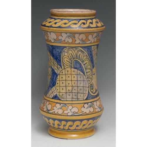 3392 - A South European majolica albarello wet drug jar, painted in the Renaissance style, 31cm long