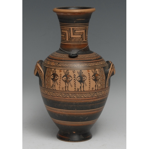 3170 - A connoisseur's museum copy, of an Ancient Greek terracotta ovoid vase, typically painted, 22cm high