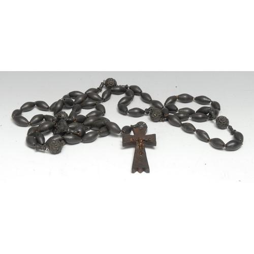 3179 - A French rosary bead necklace, Souvenir dende Lourdes, corpus Christi pendant, 135cm drop, c. 1900