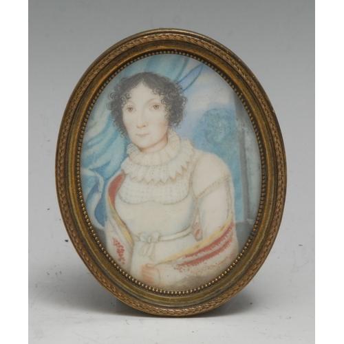 3709 - South European School (early 19th century), portrait miniature, of a lady, half-length, oval, waterc...