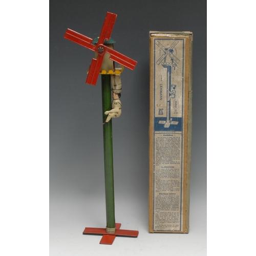 3255 - A Lehman tinplate novelty toy, Gustav the Miller, 44cm high, boxed en suite