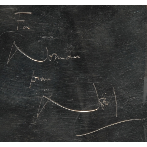 4106 - Sir Noël Coward (1899 – 1973) - a large George VI silver rounded rectangular presentation hipflask, ...
