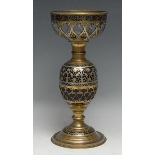 3522 - An Indian brass and pique hookah or oil lamp base, 30.5cm high, c.1900
