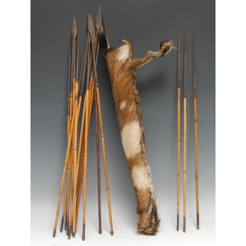 3869 - Tribal Art - an African hide quiver, containing seventeen arrows, various shapes and sizes of pierci...