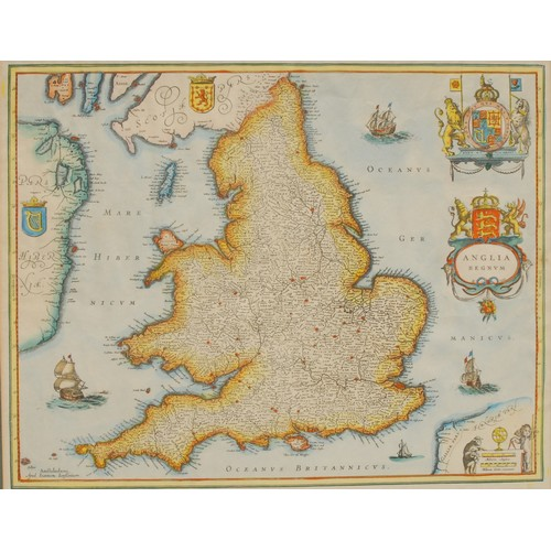 4043 - After Henricus Hondius II (1597-1651), America Septenrionalis, hand-coloured 20th century restrike, ...
