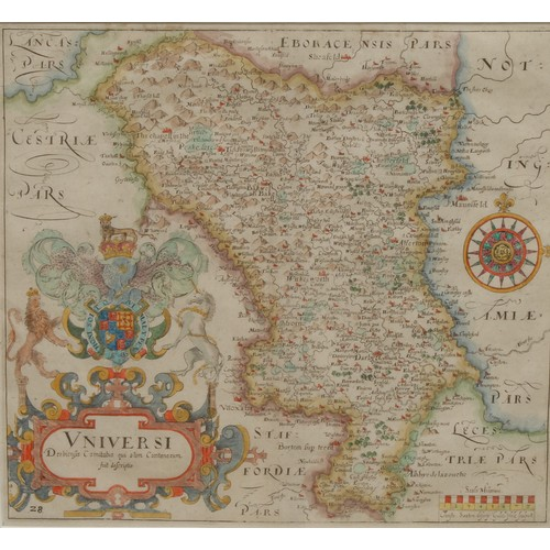 4059 - William Hole (d. 1624), after Christopher Saxton (c. 1540 – c. 1610), a county map of Derbyshire, [L...