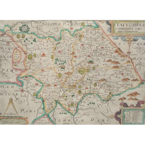 4062 - William Kip (1588-1635), after Christopher Saxton (c. 1540 – c. 1610), county map of Staffordshire, ...