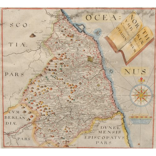 4060 - William Hole (d. 1624), after Christopher Saxton (c. 1540 – c. 1610), a county map of Northumberland...