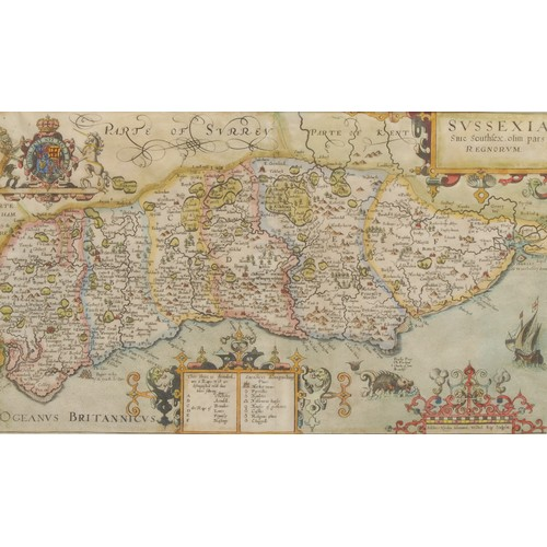 4063 - William Kip (1588-1635), after Christopher Saxton (c. 1540 – c. 1610), county map of Sussex, [London...
