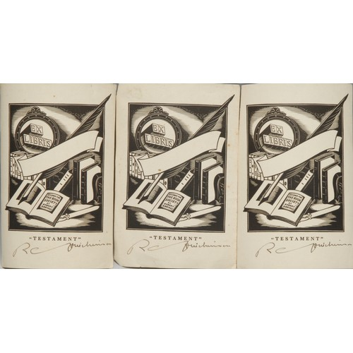 4100 - Ray Coryton Hutchinson (1907-1975) - three autographed bookplates,