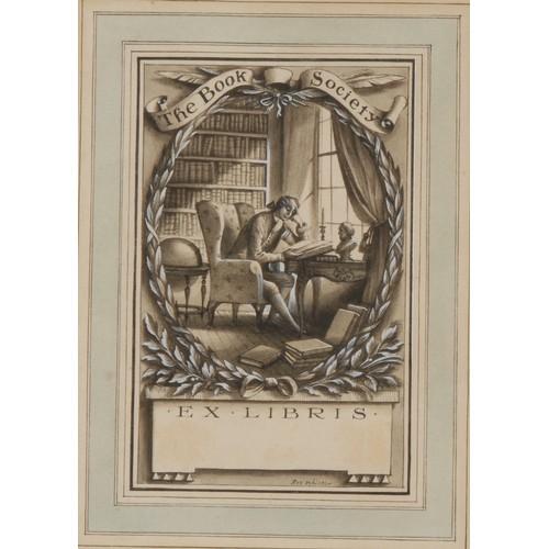 4104 - Rex Whistler (1904-1944) Original Artwork Design for a Bookplate, The Book Society/Ex Libris, an 18t...