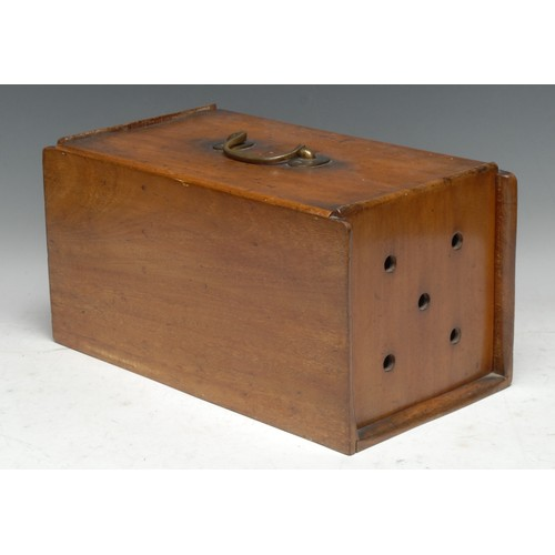 3722 - Treen - a 19th century mahogany racing pigeon box, each sliding cover with pierced vents, enclosing ...