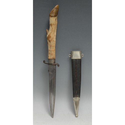 3906 - A Swedish silver mounted hunting dagger, 17cm stright pointed single-edged blade marked H Sch**strom...