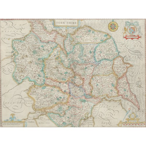 4051 - John Speed (1552-1629), a county map of Yorkshire, [London: 1676], hand-coloured engraving, 39cm x 5...