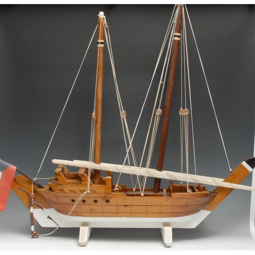 3371 - A scratchbuilt maritime model, of a Kuwaiti dhow, two-mast vessel, the stern of the boat with a nati...