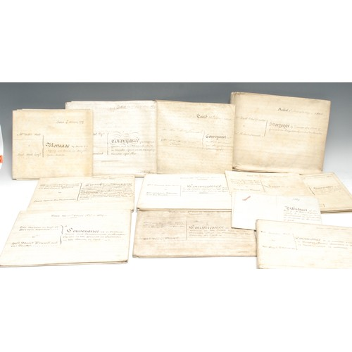 4066 - A bundle of 19th century vellum ink manuscript deeds, relating to a house in Kingston Square, Sculco...
