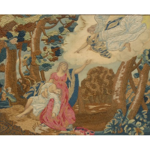 3475 - An early 19th century silk and wool work picture, Jochebed and Miriam casting Moses off along the Ri...