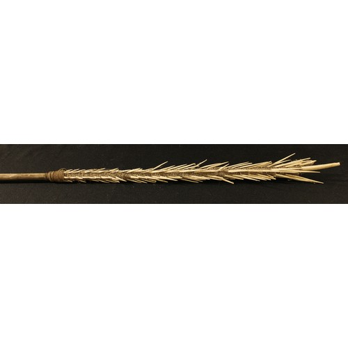 3859A - Tribal Art - a Polynesian fishing spear, the cord bound head with bones fashioned as spikes, 186cm l...