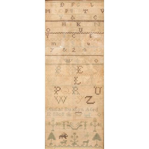 3753 - A George III needlework sampler, by Abigail Buxton, aged 12, 1808, 53cm x 21cm