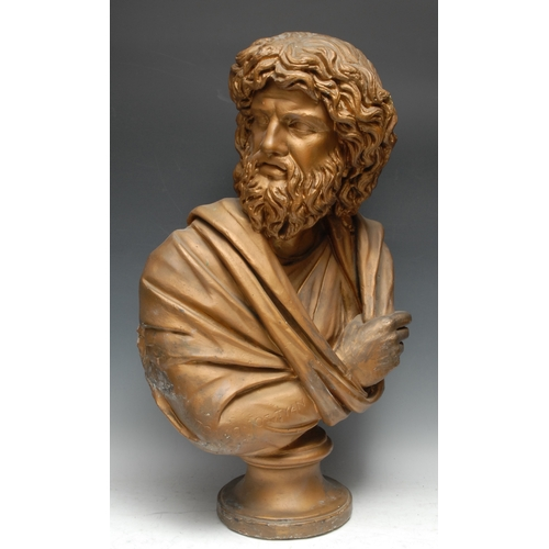 3747 - A plaster library bust, of Zeus, in the Grand Tour taste, the robe inscribed in Ancient Greek, 62cm ...