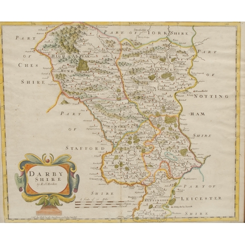 4058 - Robert Morden, two page map, Darbyshire (sic), sold by Abel Swale, Awnfham (sic) and John Churchill,...