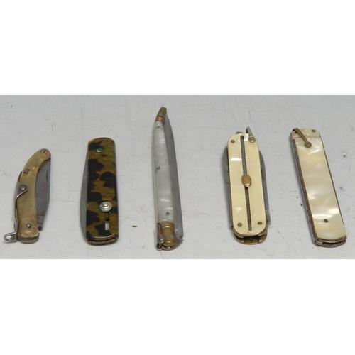 3641 - Machirology - a 19th century Continental stiletto type folding pocket knife, 8.5cm blade, two-piece ...