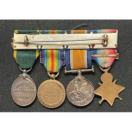 2 - WW1 British miniature medal group comprising of 1914 Star with clasp, War Medal, Victory Medal and E...