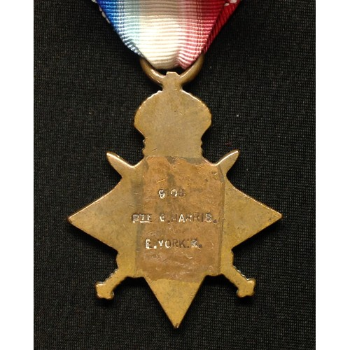 4 - WW1 British 1914-15 Star complete with ribbon to 9106 Pte G Harris, East Yorkshire Regt.