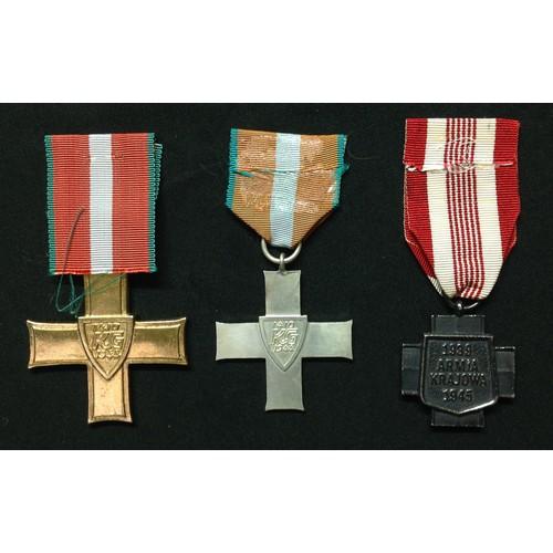 10 - Polish Order Krzyza Grunwaldu, Order of Grunwald 1st class and Order of Grunwald 2nd class. Ribbon t...
