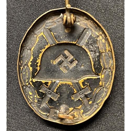 14 - WW2 Third Reich Verwundetenabzeichen im Schwarz 1939 Wound Badge in Black 1939. Early example in Tom...