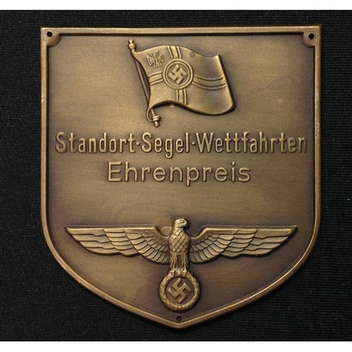 20 - WW2 Third Reich Kriegsmarine, Plakette, Bronze sailing competition prize winners plaque